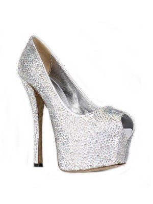 Damen Satin Stiletto Heel Peep Toe Platform Mit Rhinestone High Heels