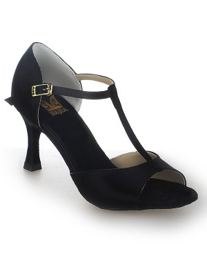 Damen Satin Stiletto Heel Peep Toe Buckle Tanzen Schuhe