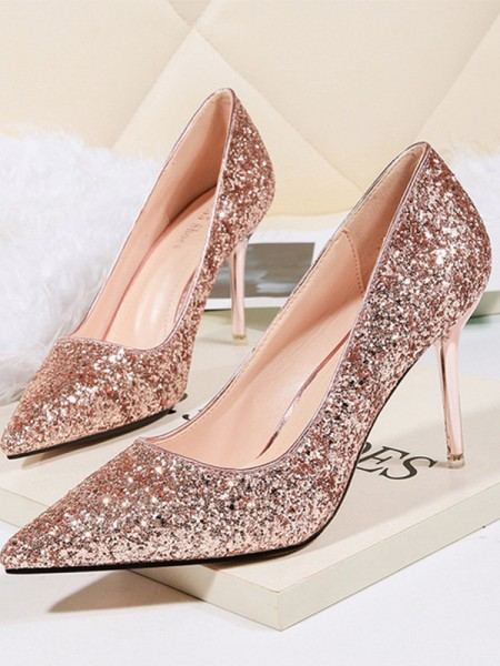 Damen Pfennigabsatz Sparkling Glitter Closed Toe High Heels