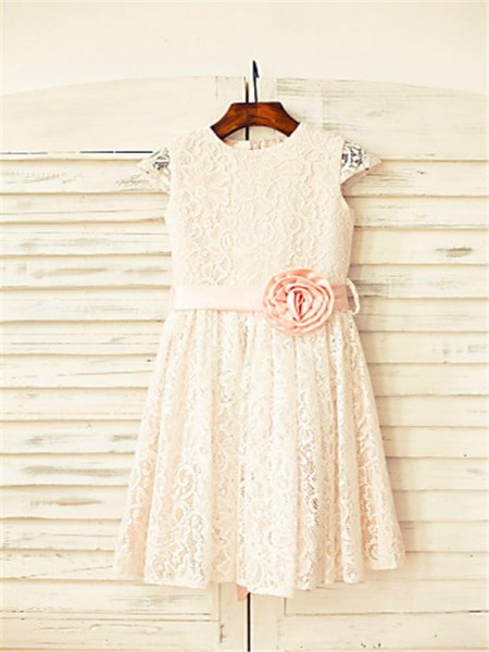A-line/Princess Short Sleeves Lace Floor-Length Hand-Made Flower Scoop Flower Girl Dresses