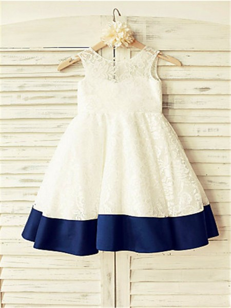 A-line/Princess Sleeveless Lace Floor-Length Bowknot Scoop Flower Girl Dresses