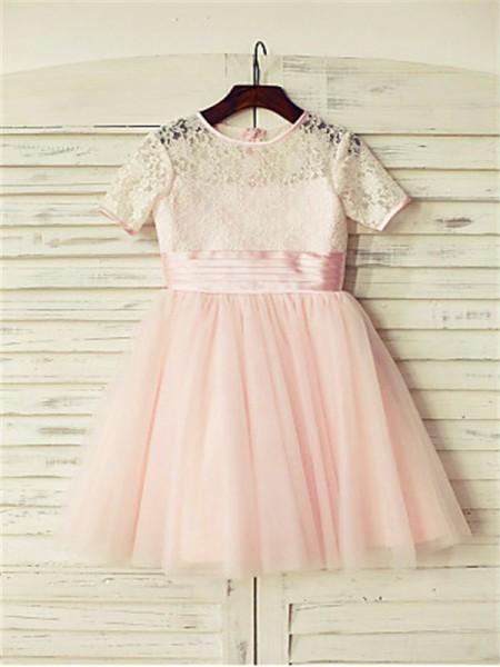 A-line/Princess Short Sleeves Tulle Floor-Length Lace Jewel Flower Girl Dresses