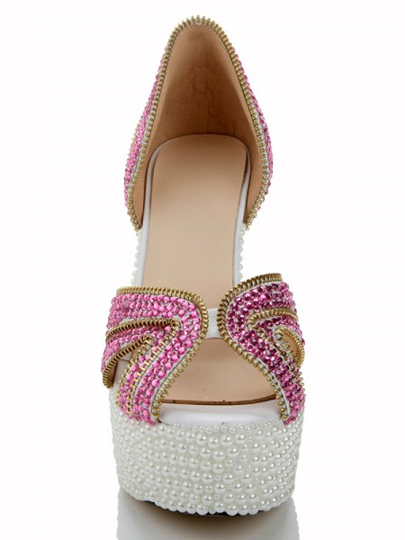 Patent Leder Pearls Diamond Sandaleen High Heels