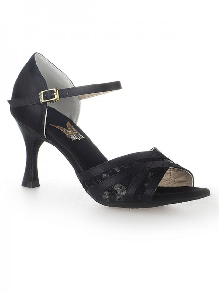 Damen Peep Toe Stiletto Heel Satin Buckle Tanzen Schuhe
