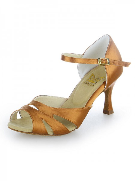 Damen Peep Toe Buckle Satin Stiletto Heel Tanzen Schuhe