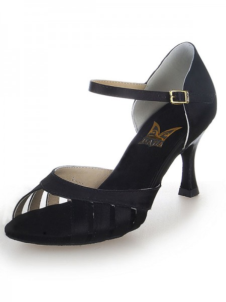 Damen Satin Peep Toe Buckle Stiletto Heel Tanzen Schuhe