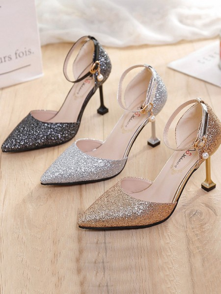 Pfennigabsatz Closed Toe Sparkling Glitter Damen High Heels