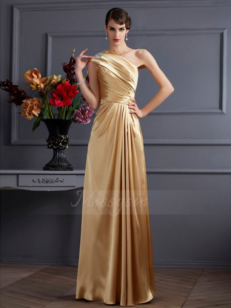 A-Linie/Princess-Linie One-Shoulder-Träger Ärmellos Stretch-Satin Bodenlang Perlen verziert Kleid