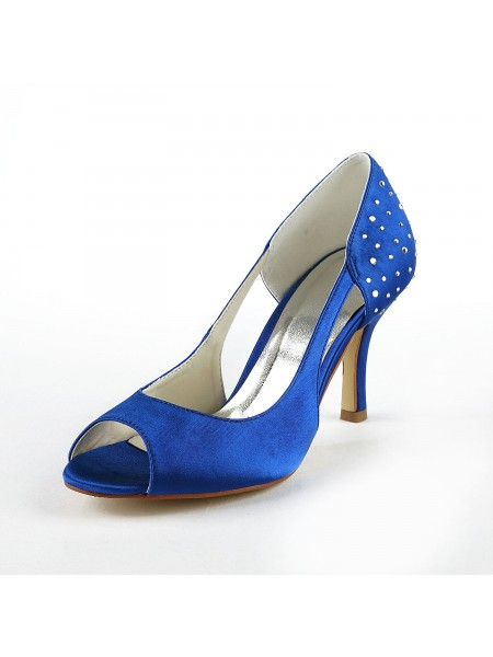 Damen Gorgeous Satin Stiletto Heel Peep Toe Mit Rhinestone High Heels