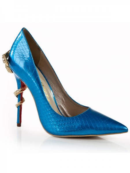 Damen Stiletto Heel Royal Blue Geschlossene Zehe Mit Rhinestone High Heels